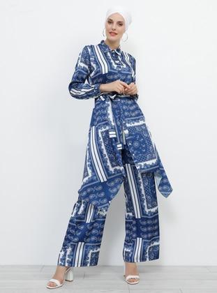 Navy Blue - Ecru - Shawl - Multi - Pants