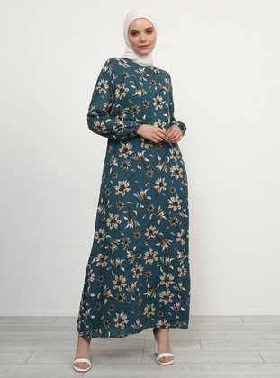 Petrol - Floral - Crew neck - Fully Lined - Viscose - Dress