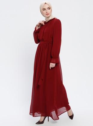 41b74218c47f3 Bordo Tesettür Elbise Modelleri ve Fiyatları - Modanisa.com