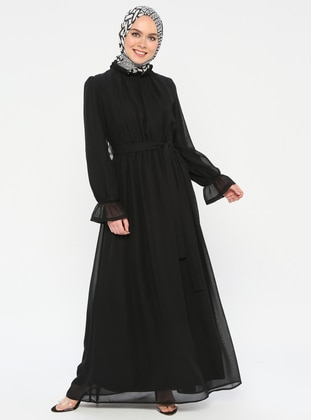 Black - Polo neck - Fully Lined - Dress