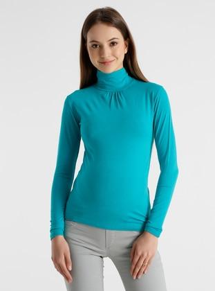 Green - Viscose - Polo neck - Maternity Blouses Shirts