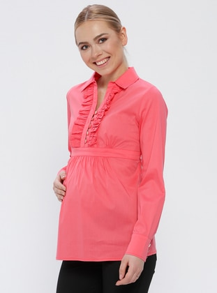 Pink - Fuchsia - Cotton - Point Collar - Maternity Blouses Shirts