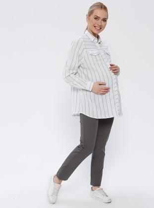 Gray - Cotton - Maternity Pants