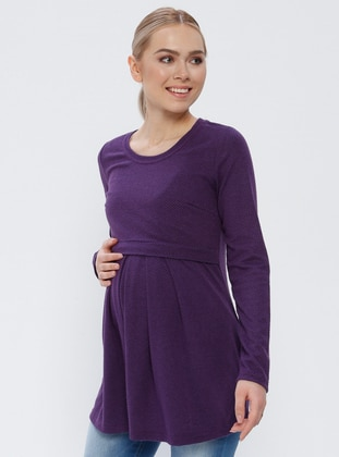 Purple - Crew neck - Cotton - Maternity Tunic - Gaiamom