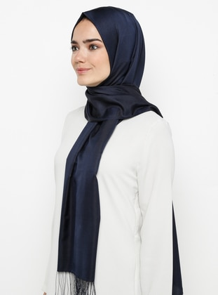 Navy Blue - Plain - %100 Silk - Shawl - Mervin Şal