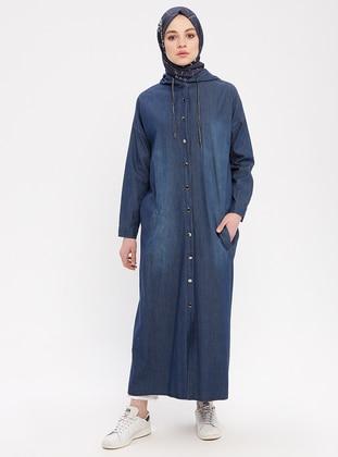 Blue - Unlined - Crew neck - Denim - Topcoat