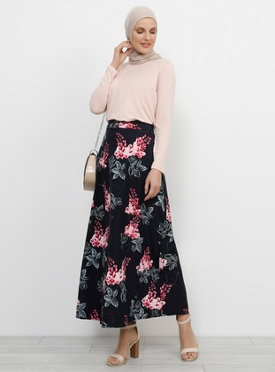 Navy Blue - Floral - Unlined - Skirt