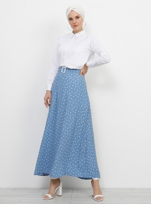 Blue - Polka Dot - Fully Lined - Viscose - Skirt