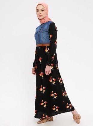 Red - Black - Floral - Multi - Point Collar - Unlined - Denim - Dress