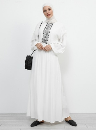 White - Ecru - Crew neck - Fully Lined - Cotton - Dress