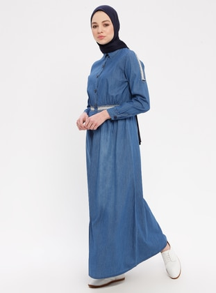 Blue - Multi - Crew neck - Unlined - Denim - Dress