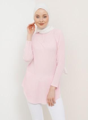 Pink - Crew neck - Cotton - Tunic