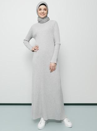 Gray - Crew neck - Unlined - Dress - Tavin