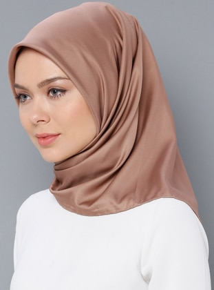 Brown - Plain - Twill - Scarf - Aker
