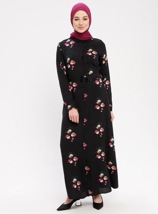 Black - Fuchsia - Crew neck - Unlined - Viscose - Dress
