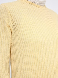 Yellow - Crew neck - Unlined - Dress