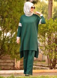 Green - Cotton - Pants