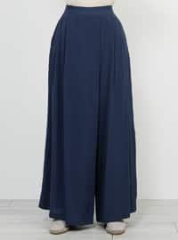 Blue - Navy Blue - Indigo - Viscose - Culottes