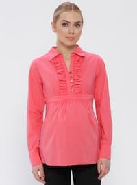 Pink - Fuchsia - Cotton - Point Collar - Maternity Blouses Shirts