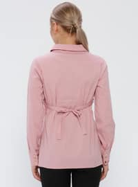 Pink - Cotton - Point Collar - Maternity Blouses Shirts