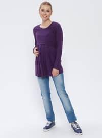 Blue - Cotton - Denim - Maternity Pants