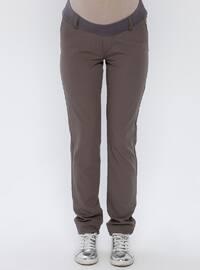Brown - Cotton - Maternity Pants