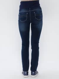 Navy Blue - Cotton - Denim - Maternity Pants