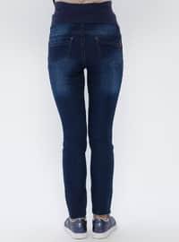 Navy Blue - Cotton - Denim - Maternity Pants