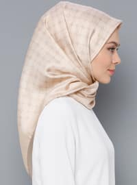 Cream - Printed - Plaid - %100 Silk - Twill - Scarf