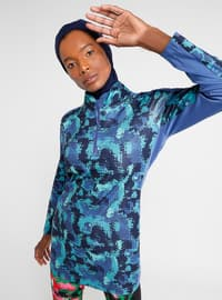 Navy Blue - Geometric - Tracksuit Top