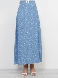 Blue - Polka Dot - Fully Lined - Viscose - Skirt
