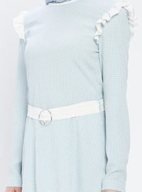 Blue - Checkered - Crew neck - Blouses