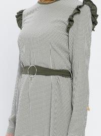 Khaki - Checkered - Crew neck - Blouses