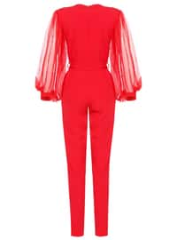 Red - Unlined - V neck Collar - Jumpsuit
