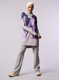 Gray - Polo neck - Tracksuit Top