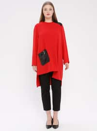 Red - Crew neck - Plus Size Tunic