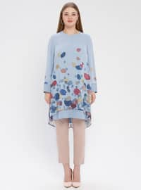 Blue - Multi - Crew neck - Plus Size Tunic