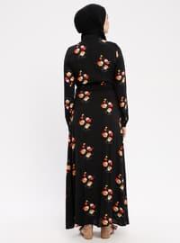Red - Black - Crew neck - Unlined - Viscose - Dress