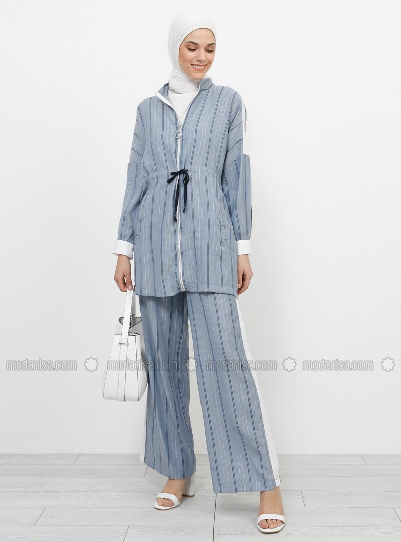 White - Navy Blue - Ecru - Stripe - Polo neck - Cotton - Viscose - Tunic