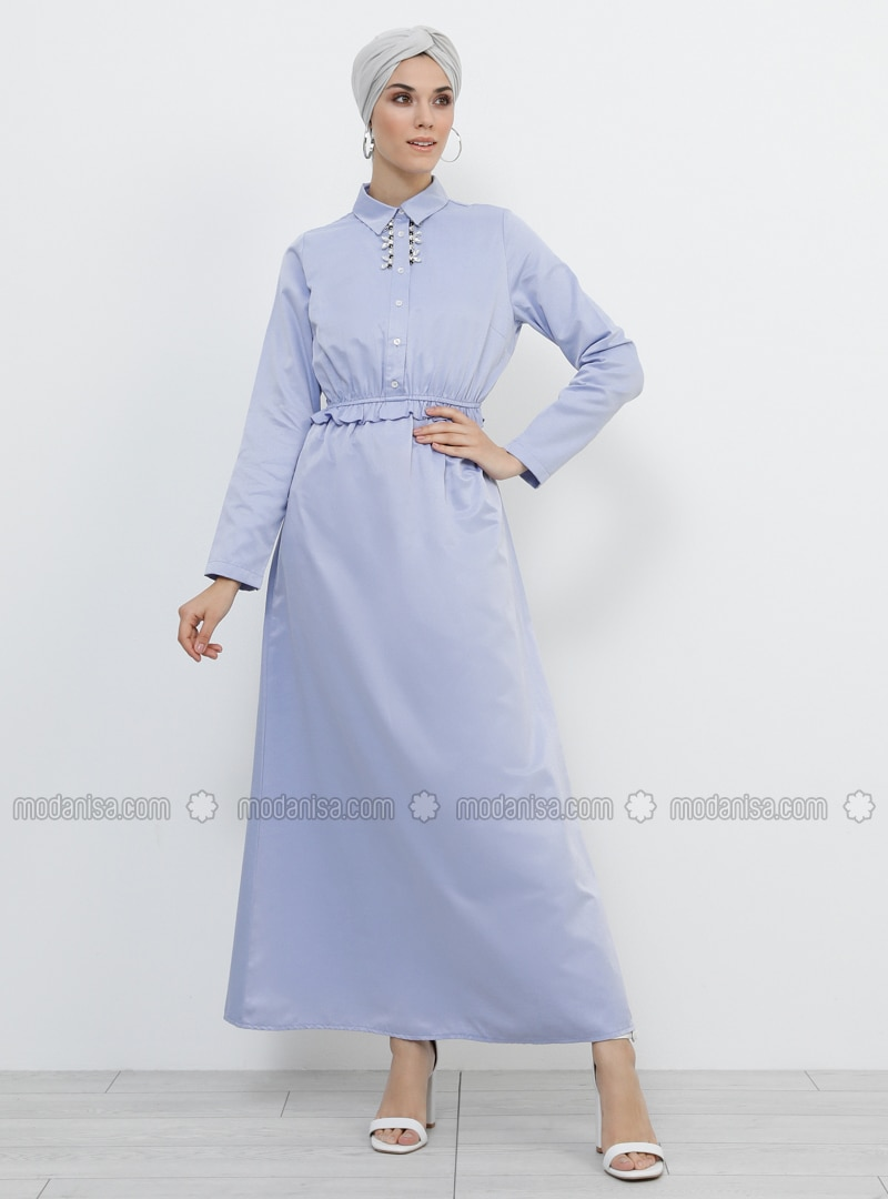Blue - Point Collar - Unlined - Cotton - Dress