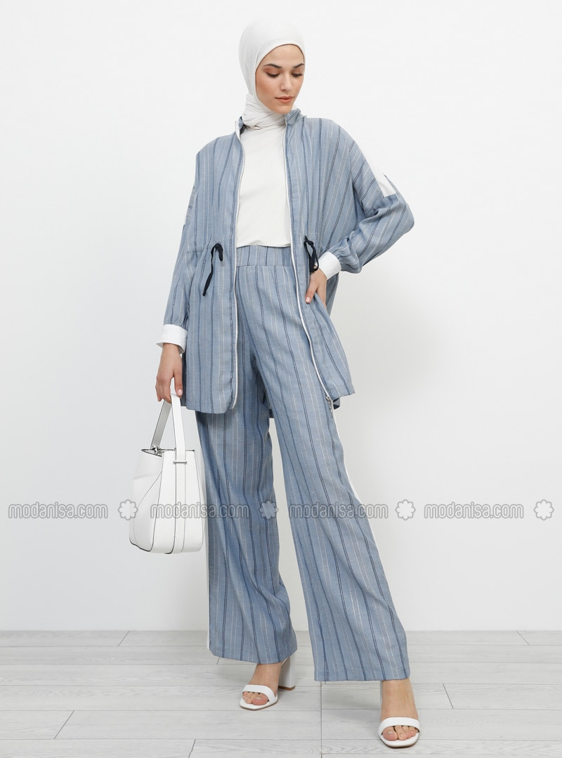 White - Navy Blue - Ecru - Stripe - Cotton - Viscose - Pants