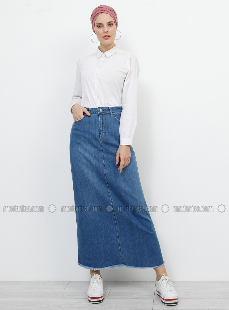 Blue - Unlined - Denim - Skirt