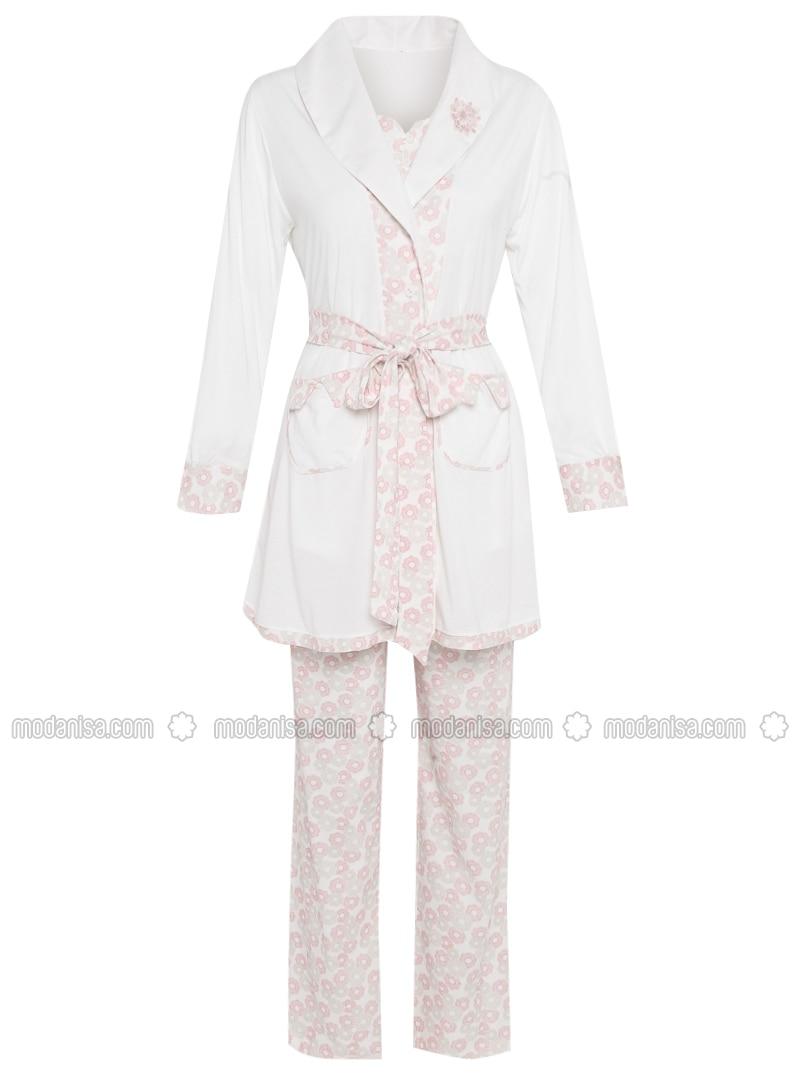 Ecru - Floral - Cotton - Pyjama