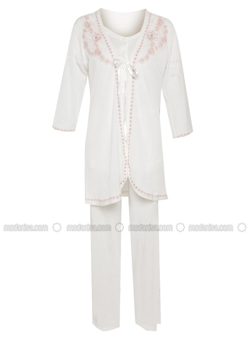 Ecru - Floral - Cotton - Modal - Pyjama