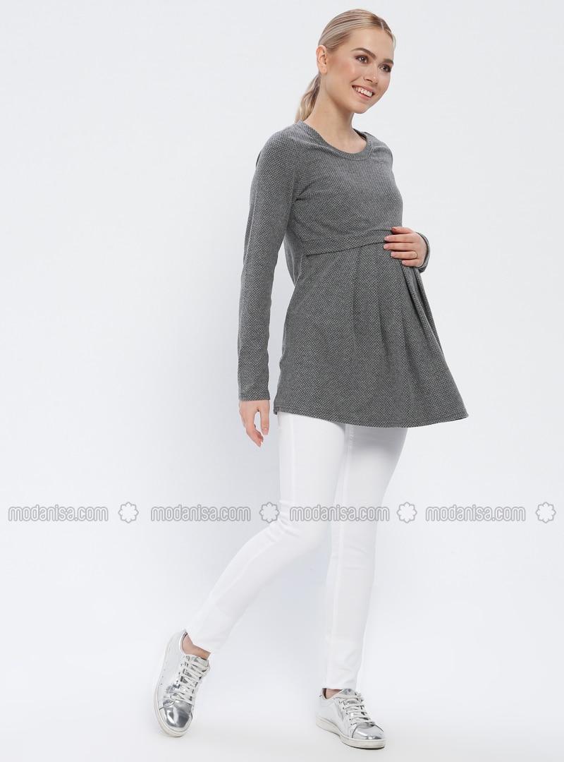 White - Ecru - Cotton - Maternity Pants