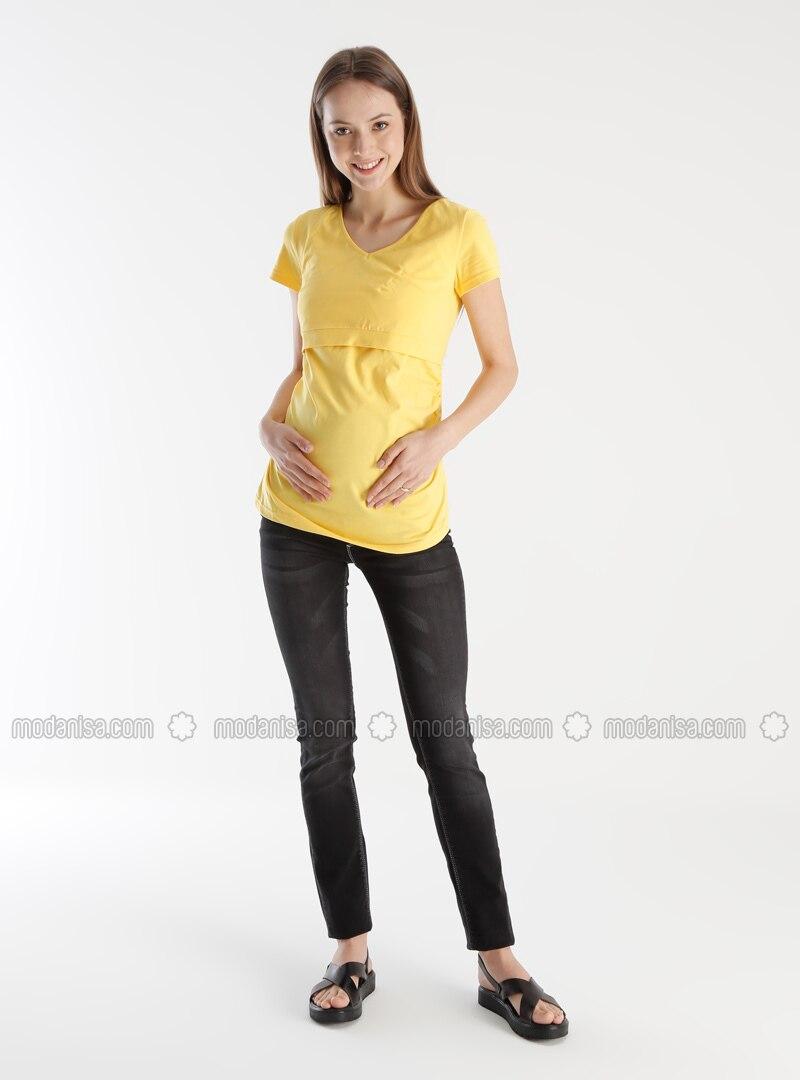 Black - Cotton - Denim - Maternity Pants