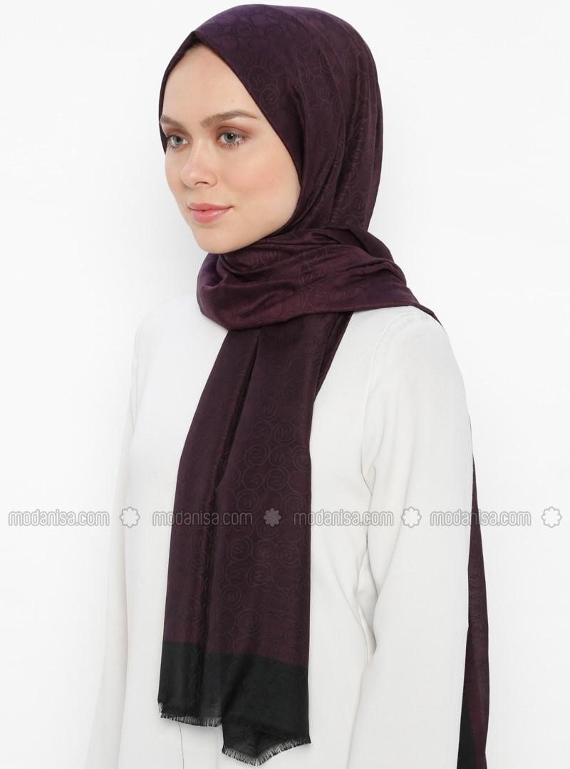 Black - Purple - Plain - Shawl
