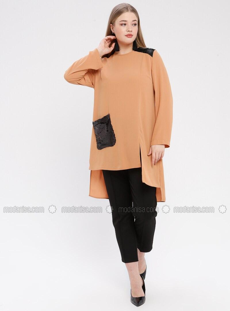 Orange - Terra Cotta - Crew neck - Plus Size Tunic