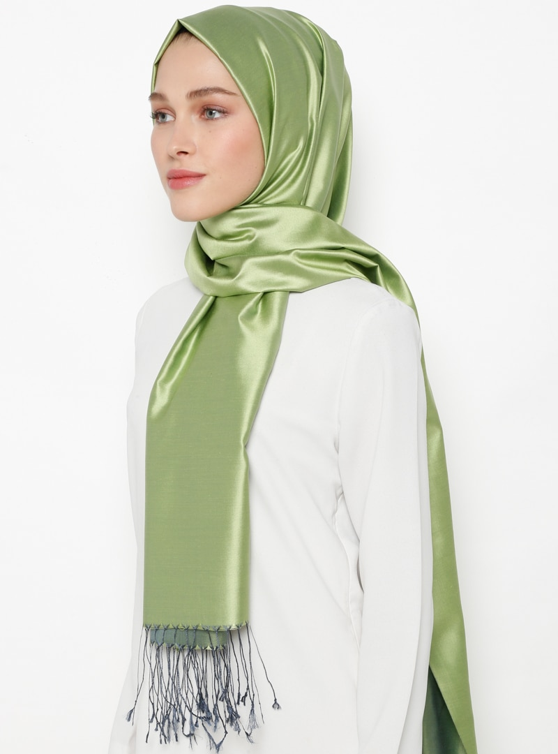 Tesettür %100 İpek Şal Silk Home Yeşil Lacivert Kadın Standart