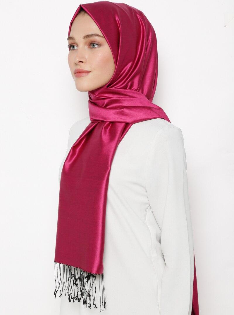 Tesettür %100 İpek Şal Silk Home Siyah Fuşya Kadın Standart